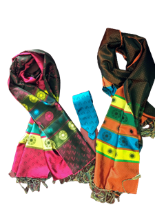 (04)-13: Bộ khăn tơ tằm và Cavat Tơ tăm họa tiết Vạn Phúc - LS 009