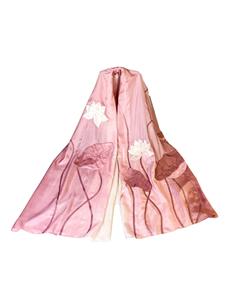 (04)-2: Khăn lụa tơ tằm thiết kế họa tiết Hoa sen trắng